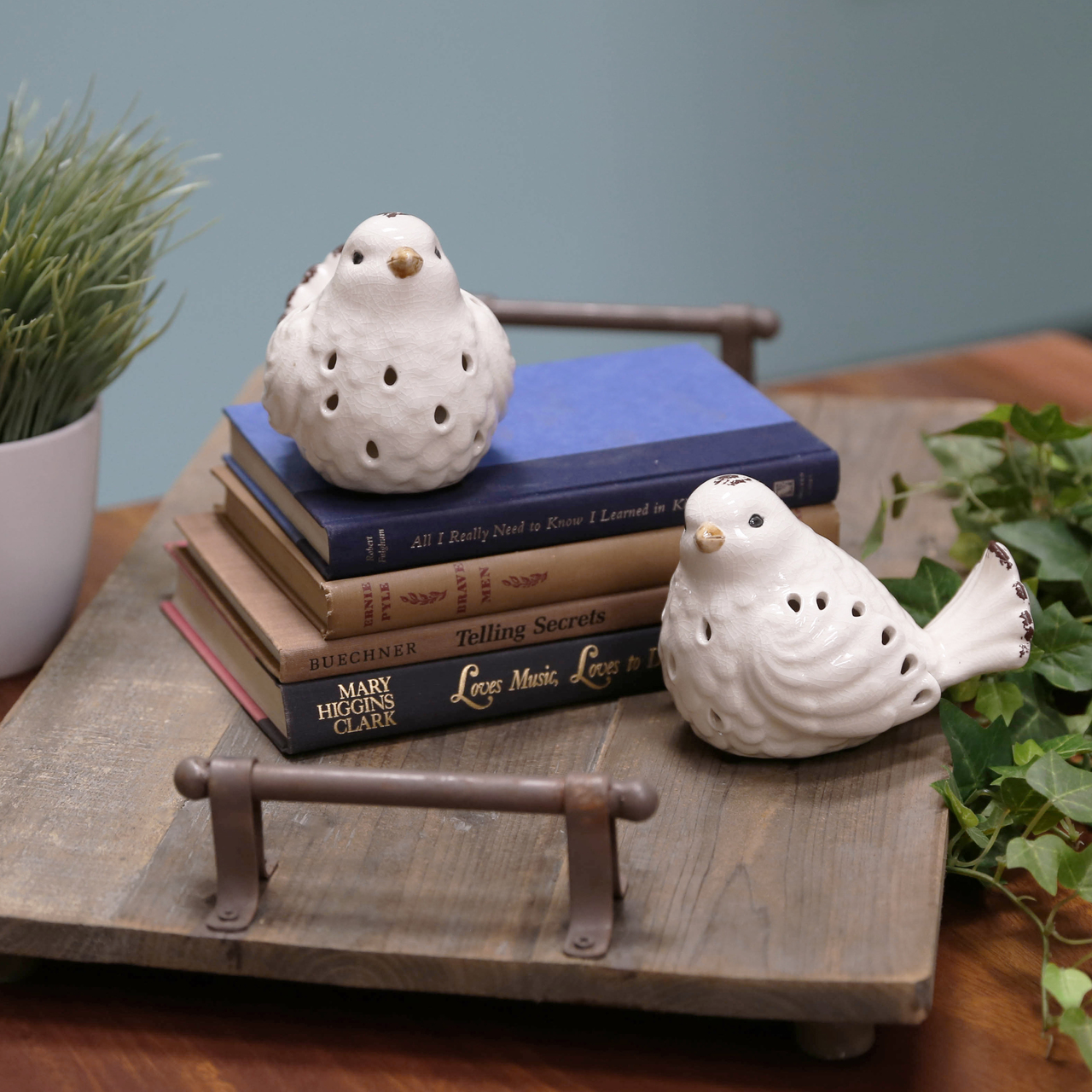 Porcelain Bird Figurine With Cutout Design Ortment Of Two Distressed Gloss Finish White