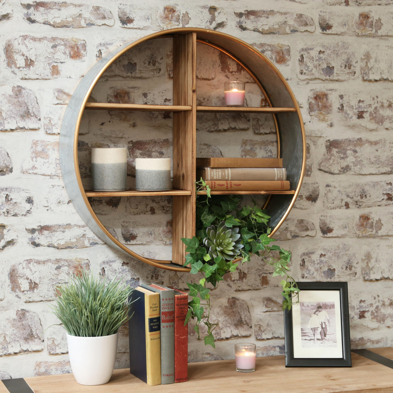 Metal Round Wall Shelf with Wood Divider, 6 Slots and ...