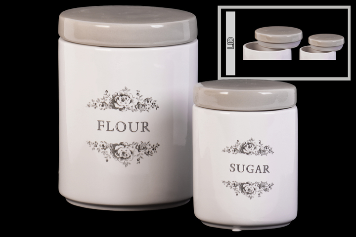 Ceramic Cylinder Canister With Gray Top Fl Drawing And