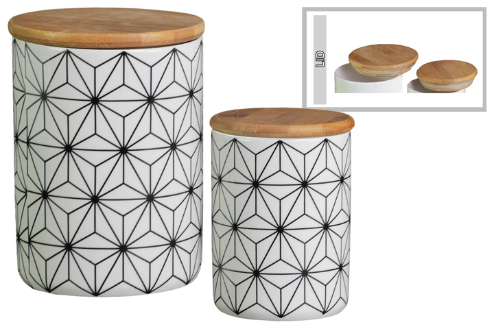 Ceramic Cylinder 56 Oz And 24 Canister With Bamboo Lid